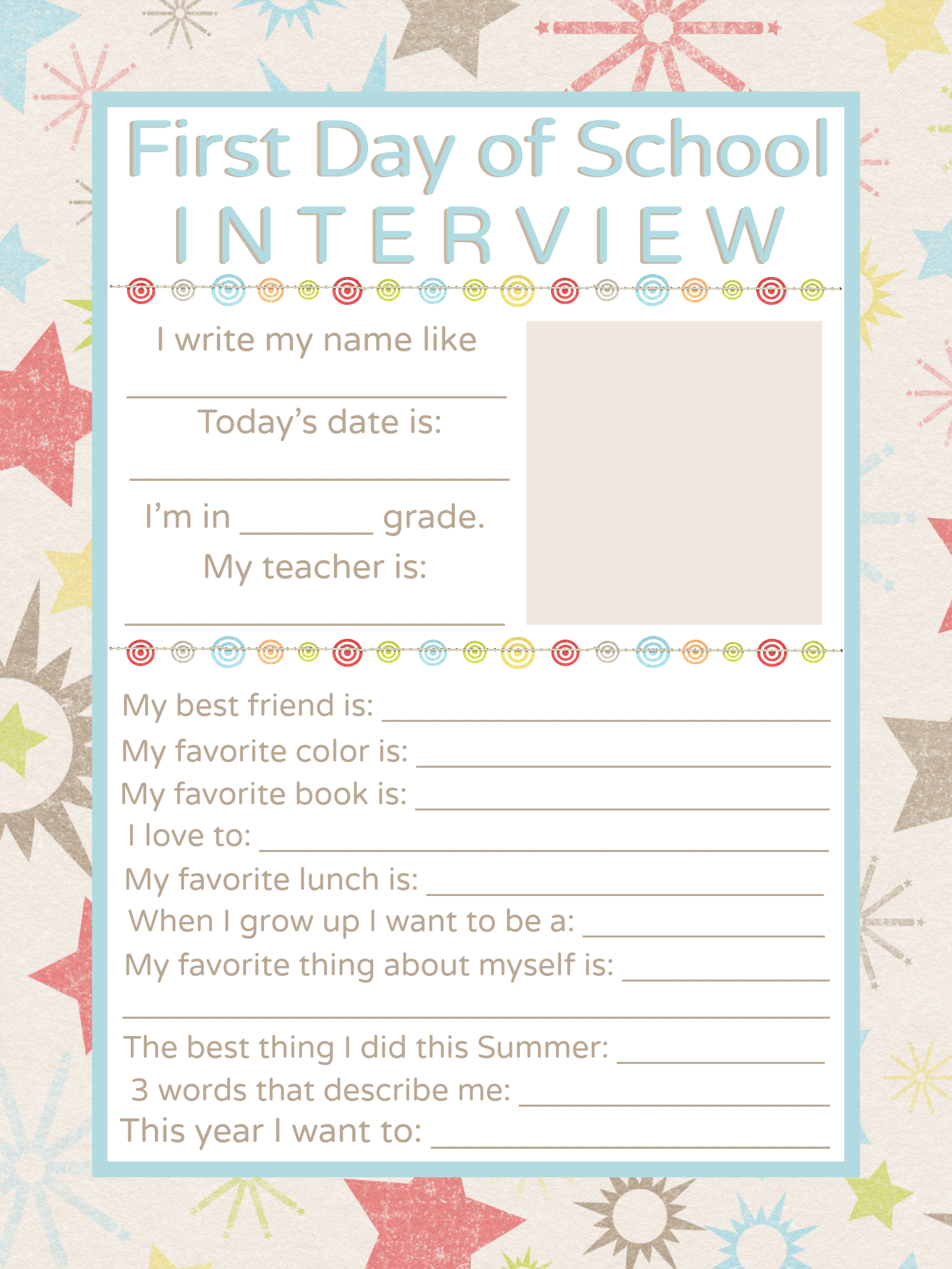 image relating to First Day of School Interview Printable identify Very first Working day of Faculty Job interview Printable Free of charge PRINTABLES
