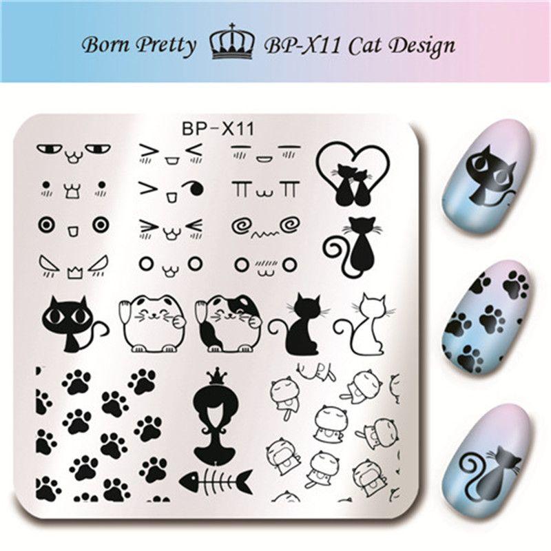 1 Pc NASCIDO BONITA Nail Art Stamp Template Imagem Bonito Gato Bonito Projeto do Símbolo Prego Carimbar A Placa BP-X11 6*6 cm