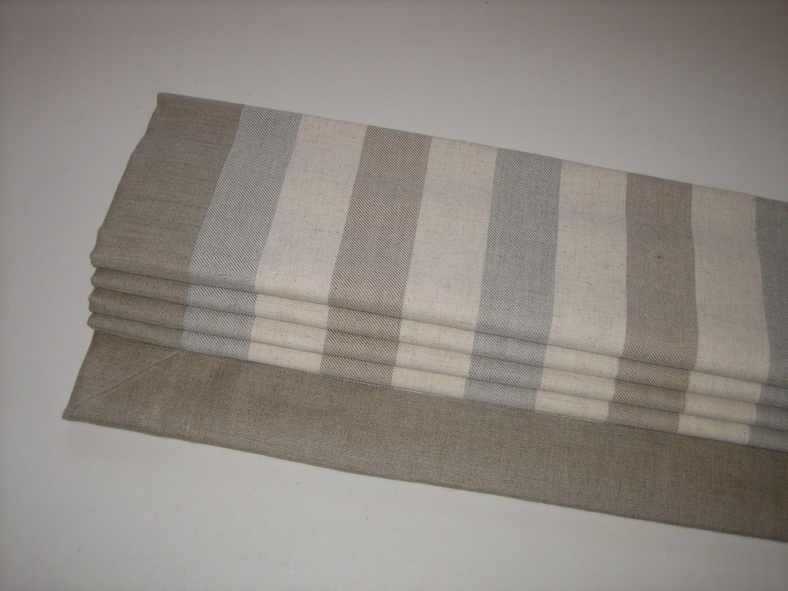 Roman Blind In A Lovely Subtle Stripe With Plain Mitred