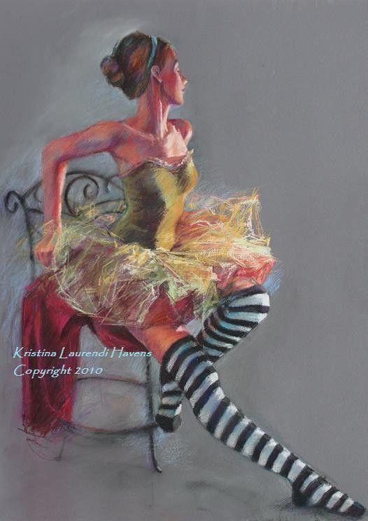 Ballet Dancer with Striped Socks  Pastel Figure by Krystyna81, $18.00