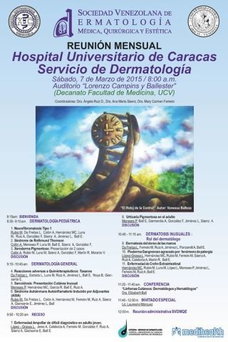 Este sábado 7 de marzo Reunión Mensual de SVDMQE en el Hospital Universitario de Caracas http://shar.es/1WVszW @PielLat #Dermatologia