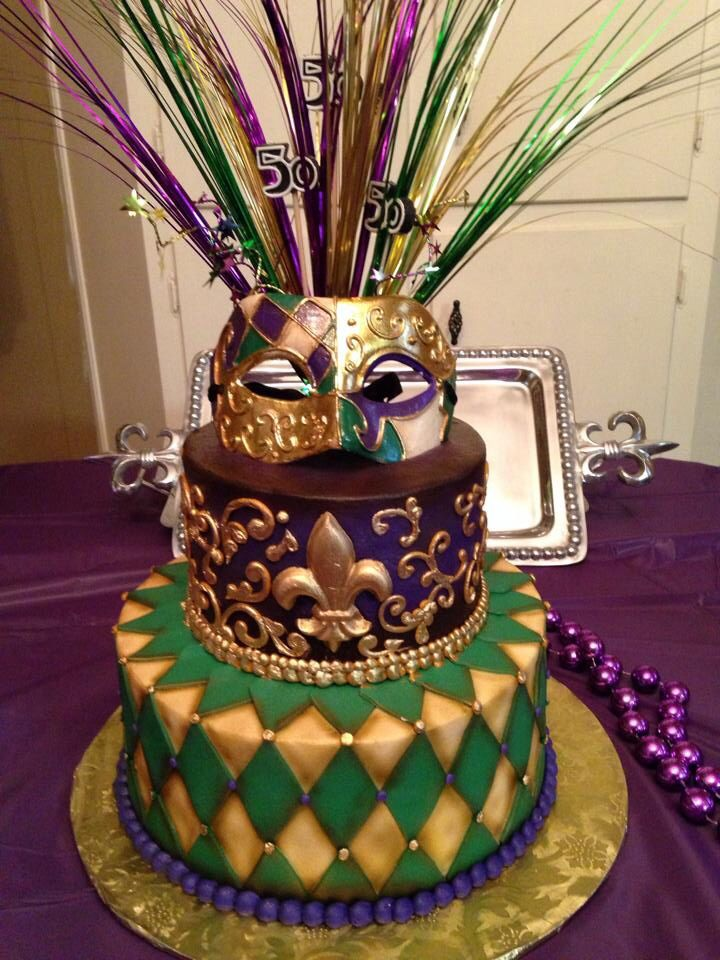 Fantastic Mardi Gras Themed Birthday Cake With Images Mardi Gras Wedding Funny Birthday Cards Online Alyptdamsfinfo