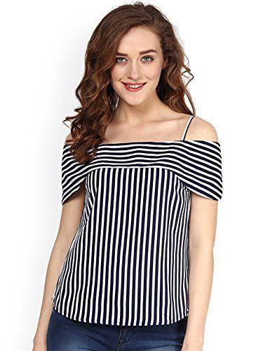 Amayra Women's Viscose Navy & White Striped Bardot Casual Top | Bardot,  Casual wear and Striped bardot tops
