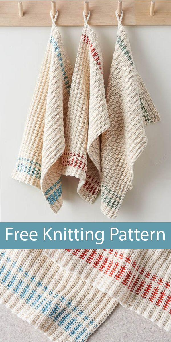 Free Knitting Pattern for Farmhouse Dishtowels
