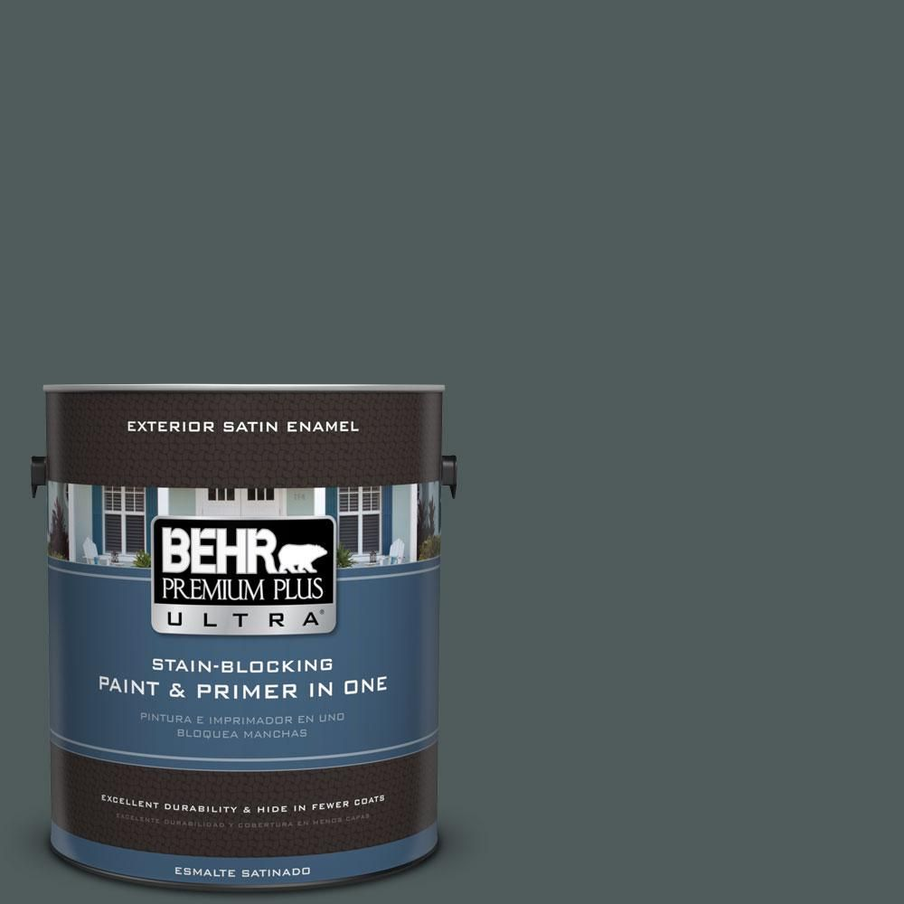 BEHR Premium Plus Ultra 1-gal. #N440-7 Midnight in NY Satin Enamel Exterior Paint