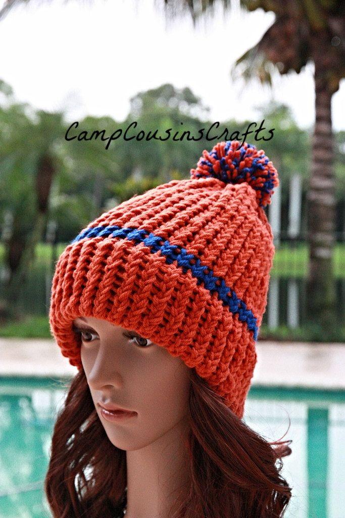 f0399a10 Denver Broncos knit hat,blue knit hat,orange knit hat,orange beanie ...