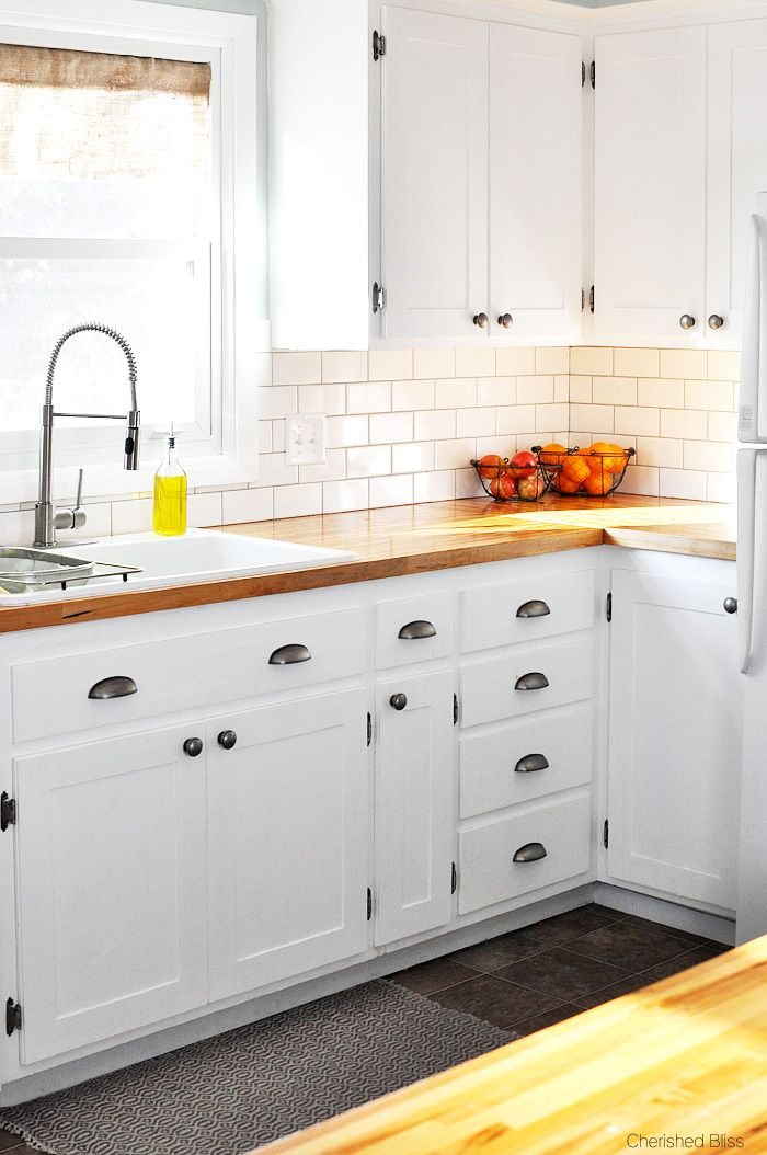 Farmhouse cottage kitchen reveal white cabinets pewter for White mission style kitchen cabinets