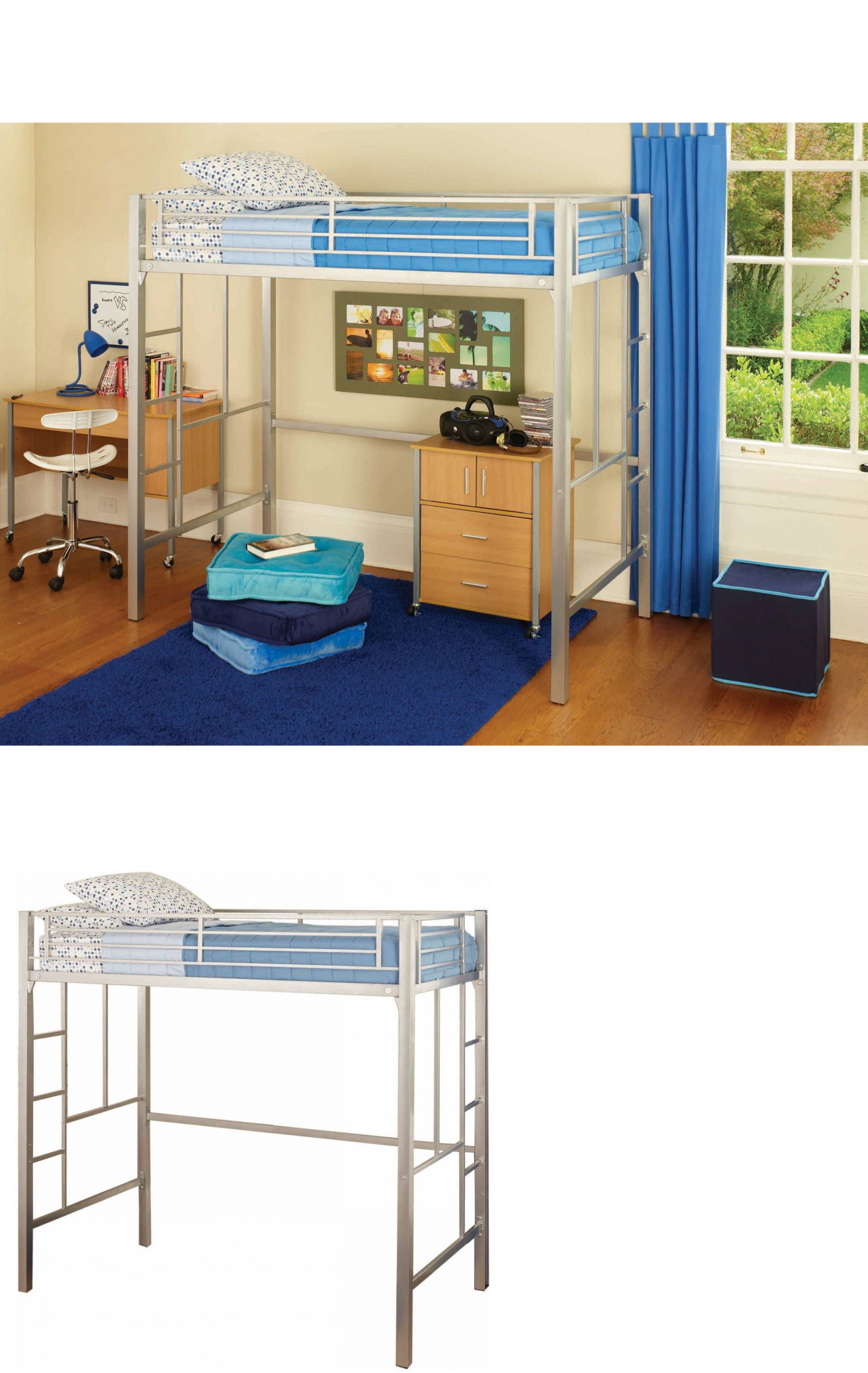 Kids at home loft twin bunk bed silver metal desk kids bedroom