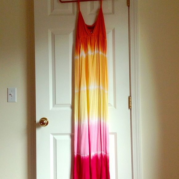 Great Maxi Dress - Sunbright Colors Awesome Summer Maxi Dress NWT - great colors / Tie dye / yellow,orange,pink, fuchsia raviya Dresses Maxi