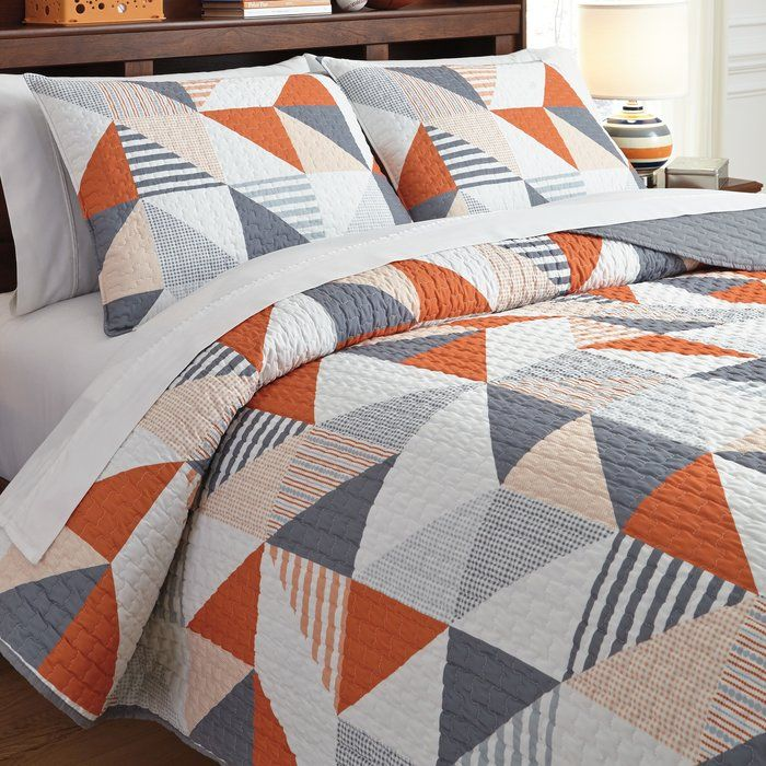 Cearbhall 3 Piece Reversible Coverlet Set Quilts Bedroom Quilts Orange Quilt