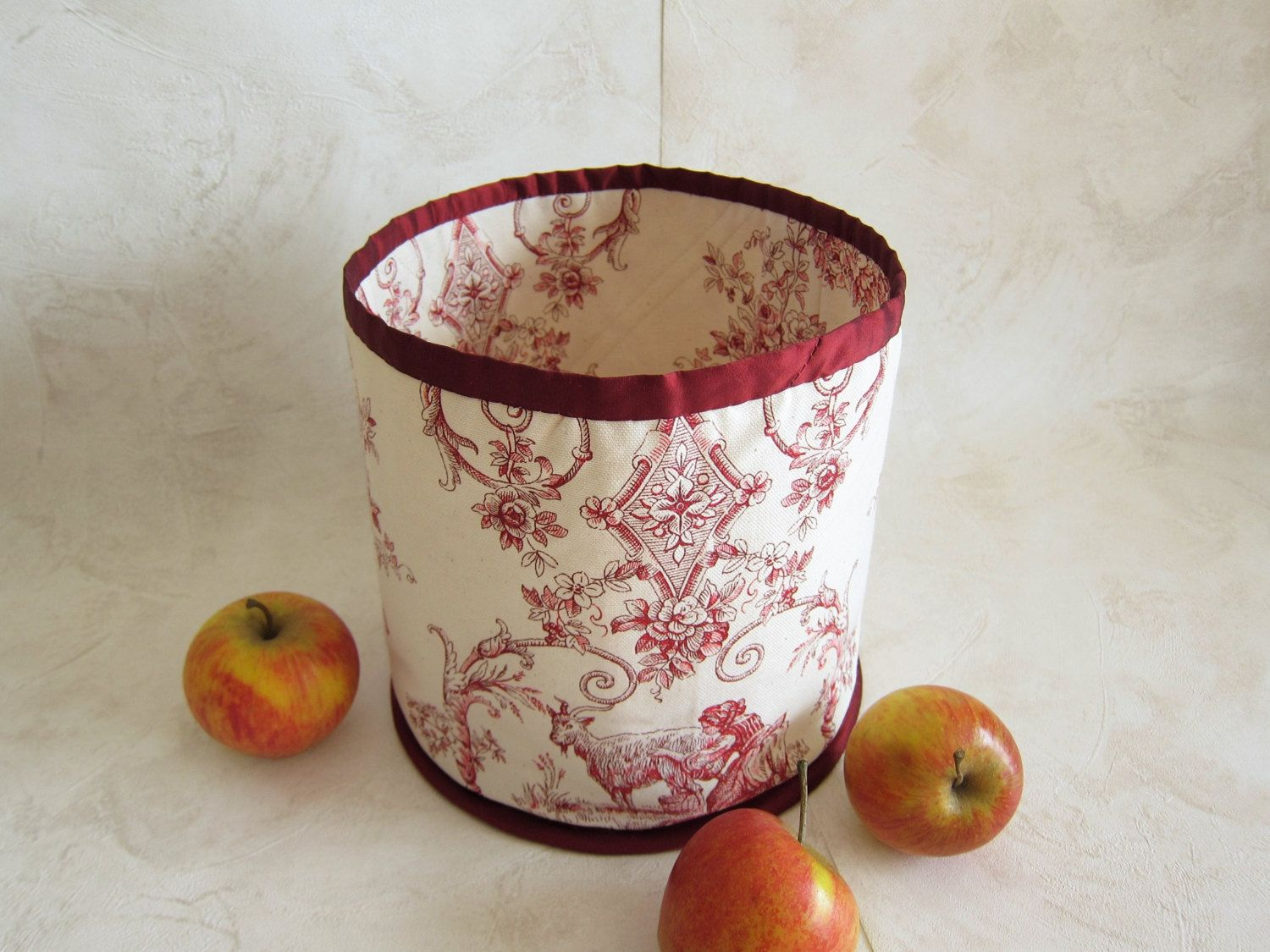 Round fabric toile jouy basket white and red home kitchen decor round fabric toile jouy basket white and red home kitchen decor french cloth vintage cotton empty negle Images