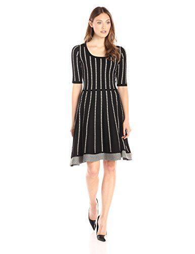 Gabby Skye Women's Elbow Sleeved Dotted Stripe Sweater Dress, Black/Ruby, S