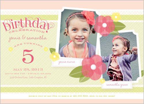 Poppy Girls Twin Birthday Invitation Boy Birthday