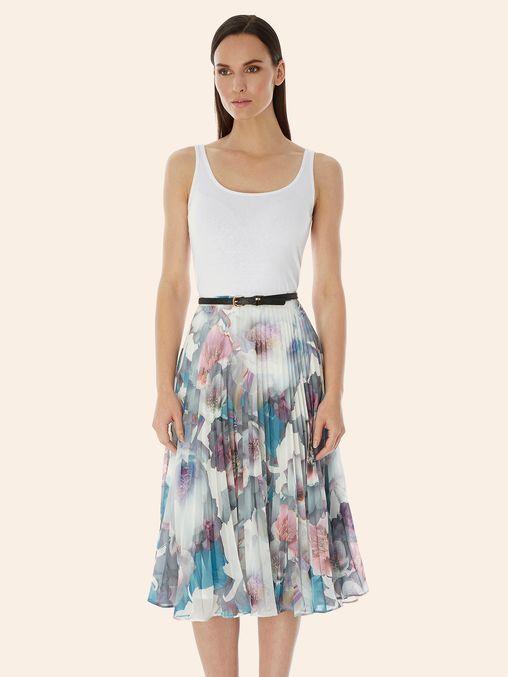 Cherry Blossom Print Pleated Midi Skirt White | Yumi