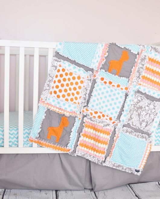Girl Giraffe Crib Bedding Set Quilt Orange Aqua Gray Crib