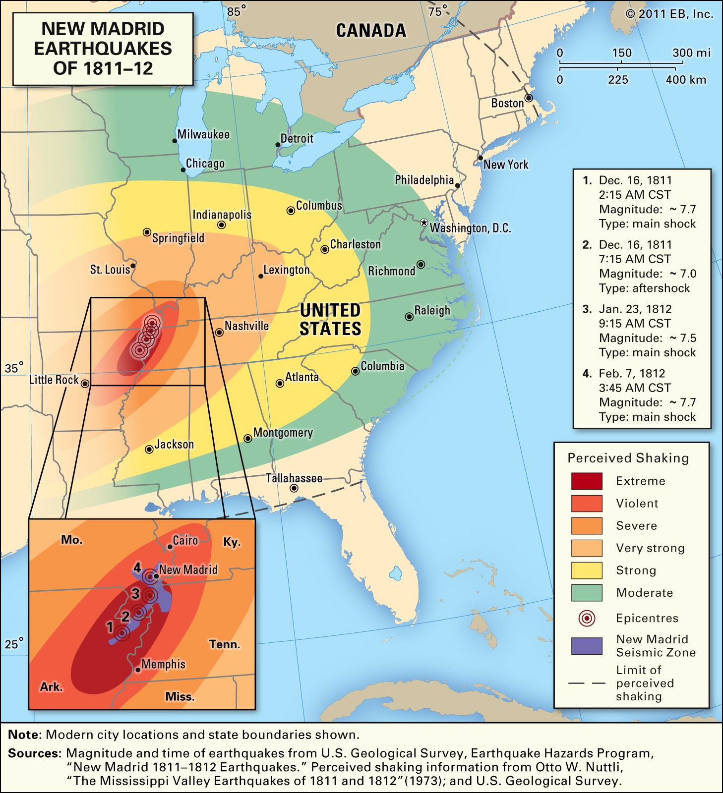 New Madrid earthquake Map of the New Madrid earthquakes of 181112