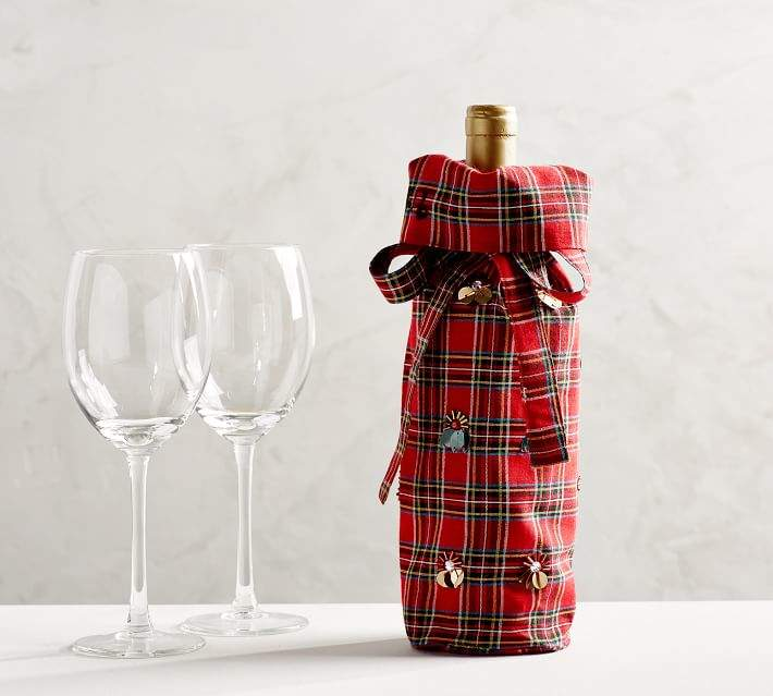 Pottery Barn Aspen Plaid Embellished Wine Bag Wine Gifts Wine Gift Set Wine Bag