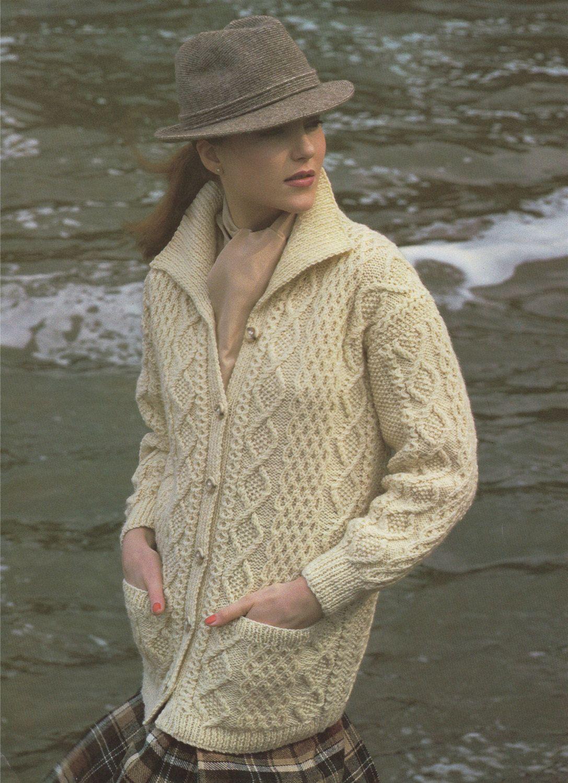 ba953cb19 PDF Ladies Aran Jacket Knitting Pattern   Womens 32 - 41 inch bust   chest  . Long Cardigan . Aran Yarn . Long Line Jacket .