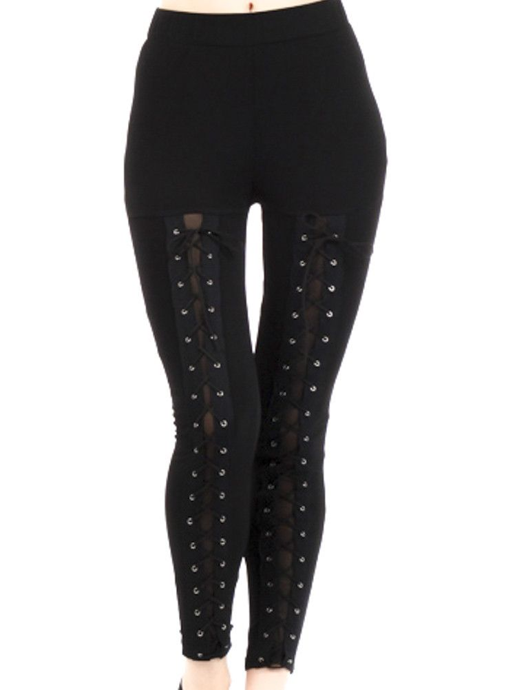 Black Lace Up Corset Leggings Gothic Clothing for Women - biker chick halloween costume ideas