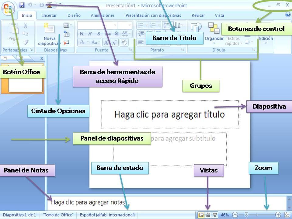 Resultado de imagen para ventana de powerpoint y sus partes señaladas