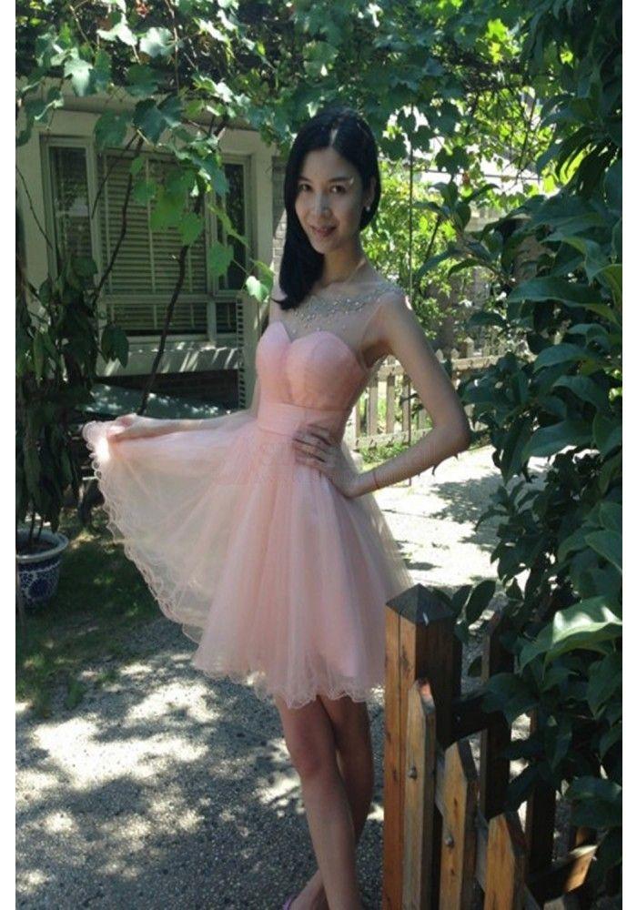 Hot Sale Sweetheart Tulle Knee Length Short Prom ...