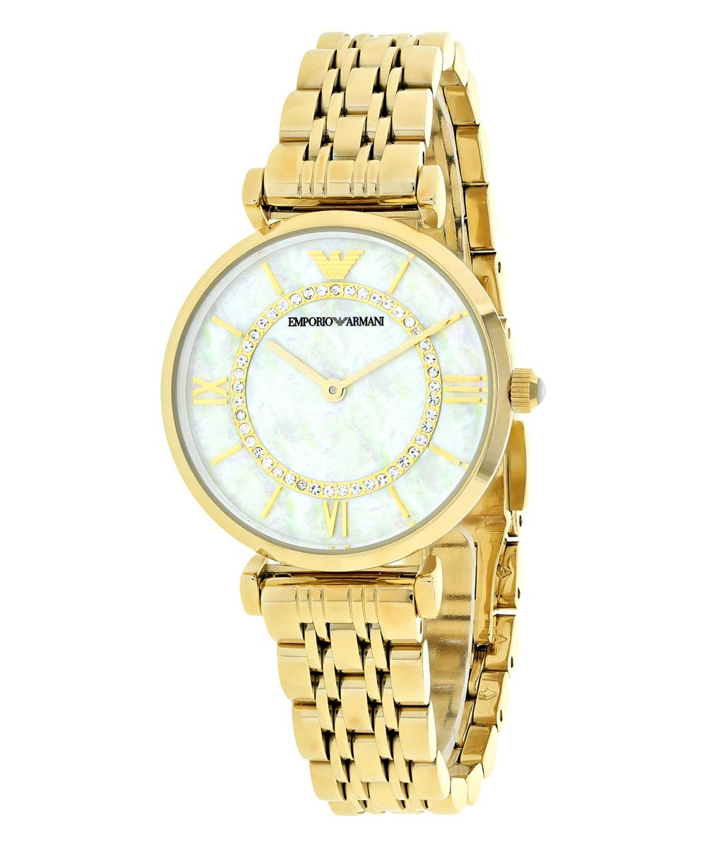 Gold & White Mother-of-Pearl Bracelet Watch