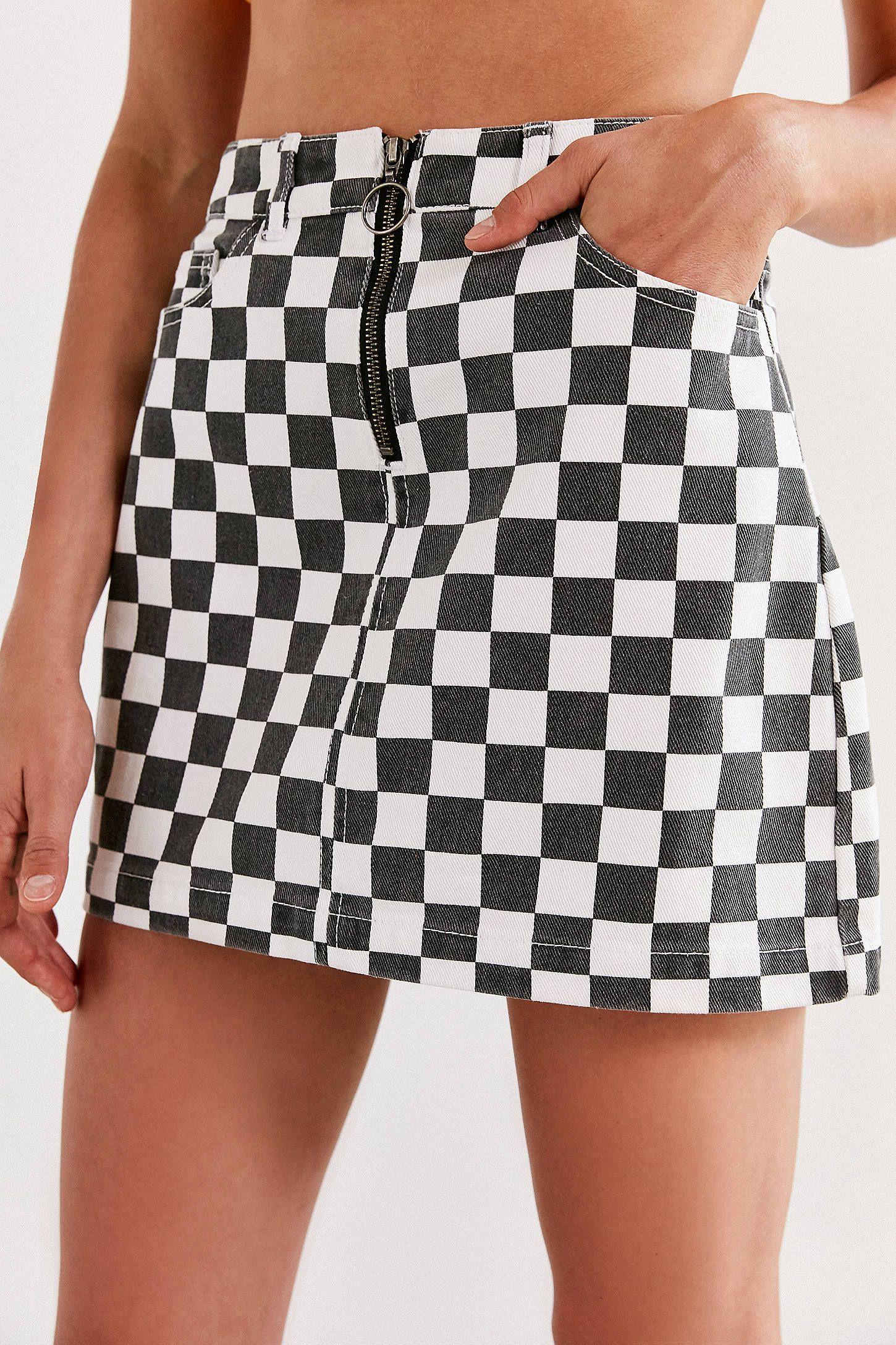 5308a32f7e BDG Checkered Denim Zip Mini Skirt in 2019   Dream Closest   Mini ...