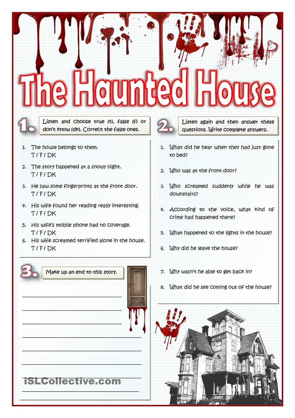 The Haunted House Listening And Writing Halloween Worksheets Halloween Lesson Narrative Writing [ 1440 x 1018 Pixel ]