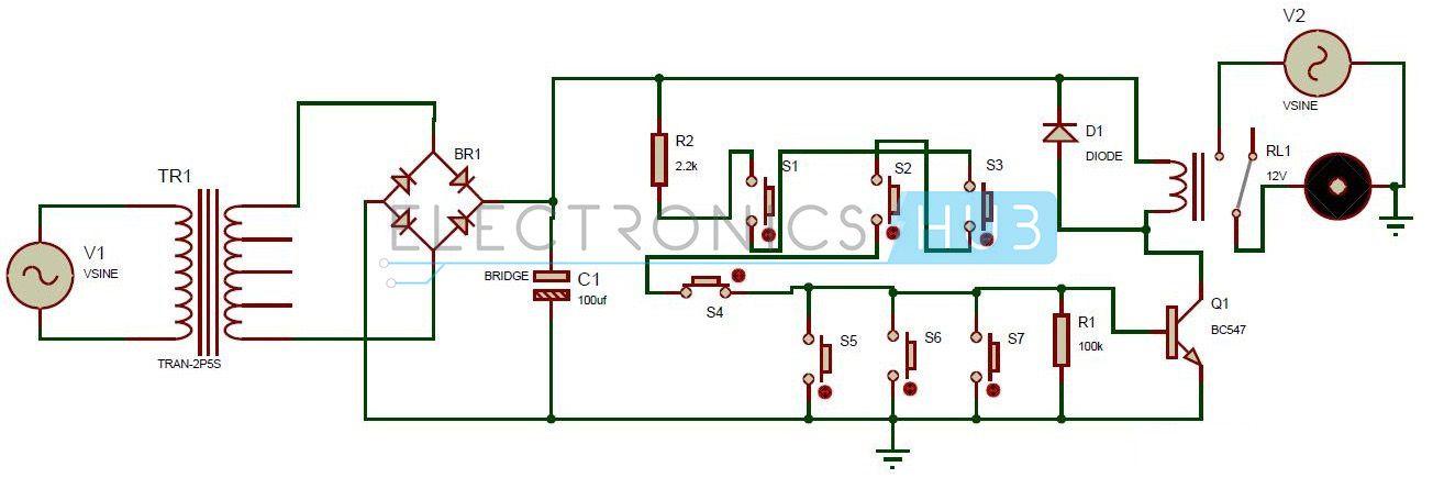 one transistor electronic code lock system circuit diagramcircuito de bloqueo con 1 transistor one transistor code lock circuit diagram
