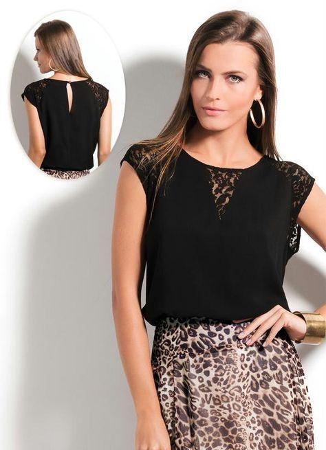 Blusa com Detalhe em Renda Ah Preta - Ana Hickmann   roupas ... 9e42e9ffbe