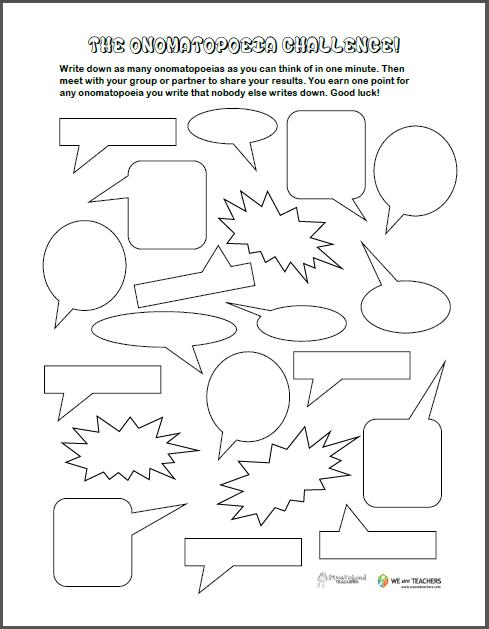 Free Printable of the Week: Onomatopoeia Game for Grades K-2 ...