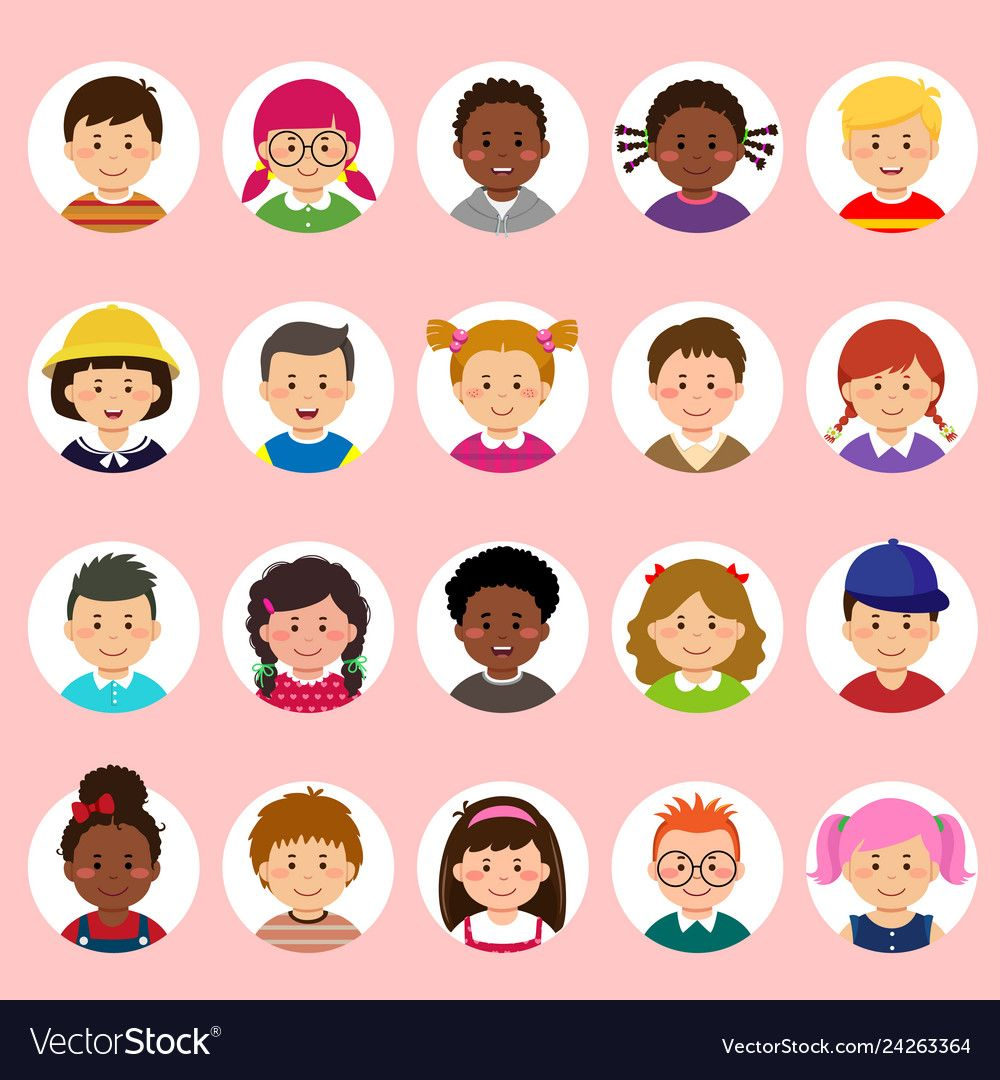 Set Of Kids Faces Avatars Children Heads Different Nationality In Flat Style Download A Free Preview Or High Quality Adobe Illustrator Kids Vector Face Kids