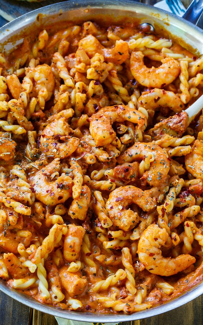 Spicy Shrimp and Tomato Cream Pasta- quick and easy to make for a weeknight meal.