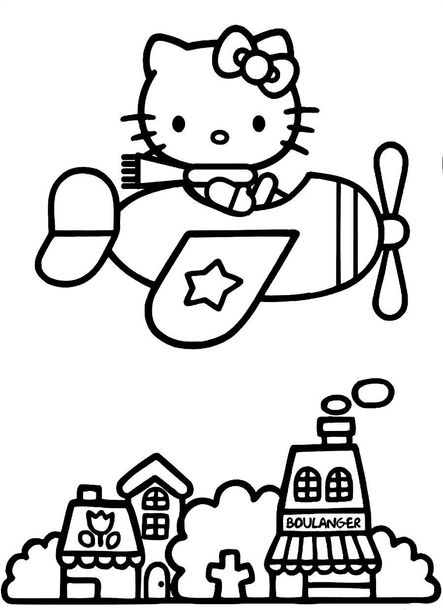 On Plane Coloring Hello Kitty Pages To Print Printable Coloring Hello Kitty Coloring Hello Kitty Colouring Pages Kitty Coloring