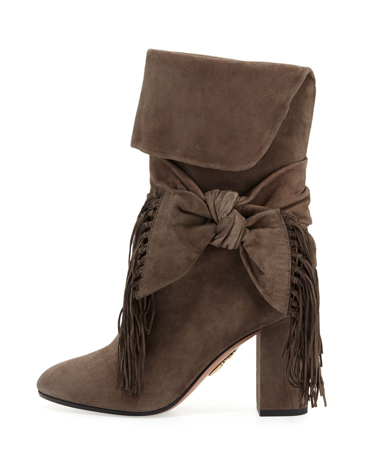 best store to get Aquazzura Fringe Bow Booties shop offer bbFF4TnNr2