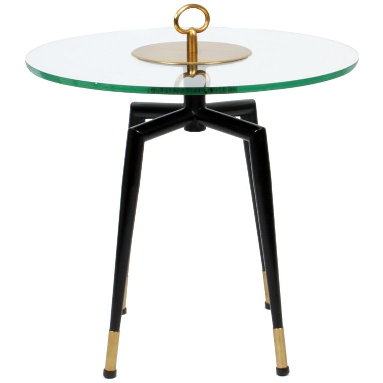 Pedestal Table With A Brass Handle 1950u0027s