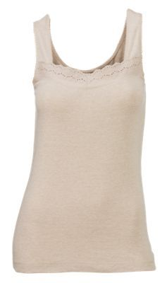 8bcf675aee50 Natural Reflections Eyelet Trim Tank Top for Ladies - Oatmeal Heather - 2XL