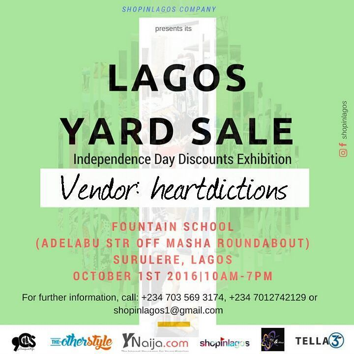 Counting down to the #LagosYardSale independence Day Exhibition  ---------------------------------- Vendor: Heartdictions  Info: @hdhqgoods is a lifestyle brand that retails vintage wears accessories and stationary goods  Catch them live at the #LagosYardSale Exhibition tomorrow and get discounts off items  Venue: Fountain School (Adelabu Str off Masha Roundabout Surulere) Lagos Time: 10am-7pm Date: October 1st 2016  #shopinlagos #buynigeriantogrowthenaira #heartdictions #lifestyle…