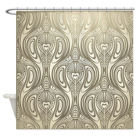 Gold Art Nouveau Deco White Chic El Shower Curtain On Cafepress