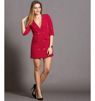 Σακάκι Μίνι Φόρεμα με Χρυσά Κουμπιά - Μπορντό  b52f815ee36