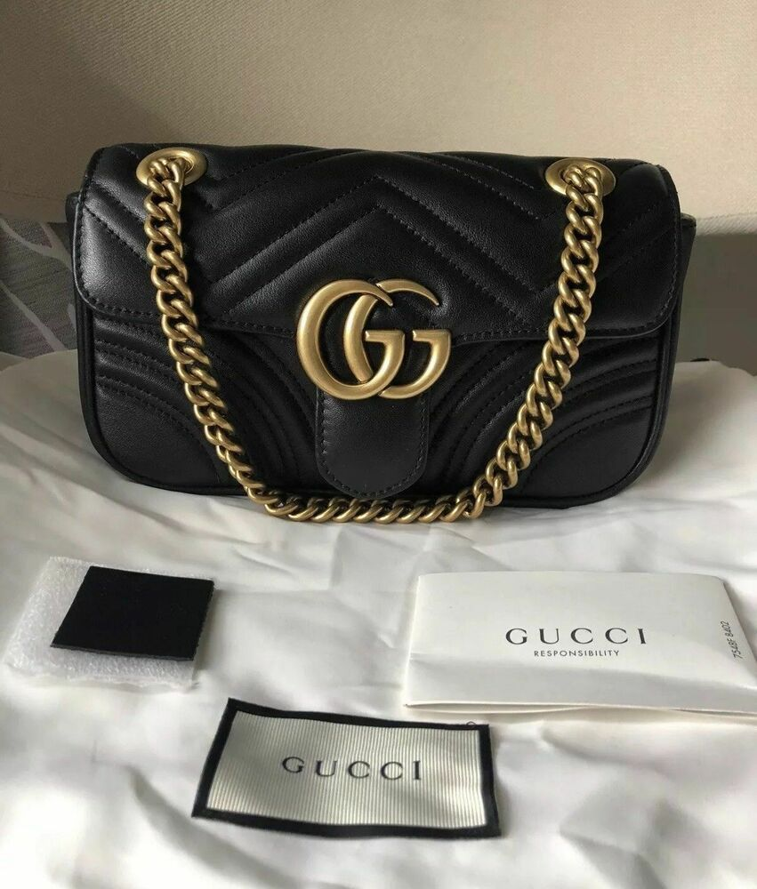 26f14c08349 Gucci GG Mini Marmont 2.0 Black Matelasse Shoulder Bag New Rare  fashion   clothing