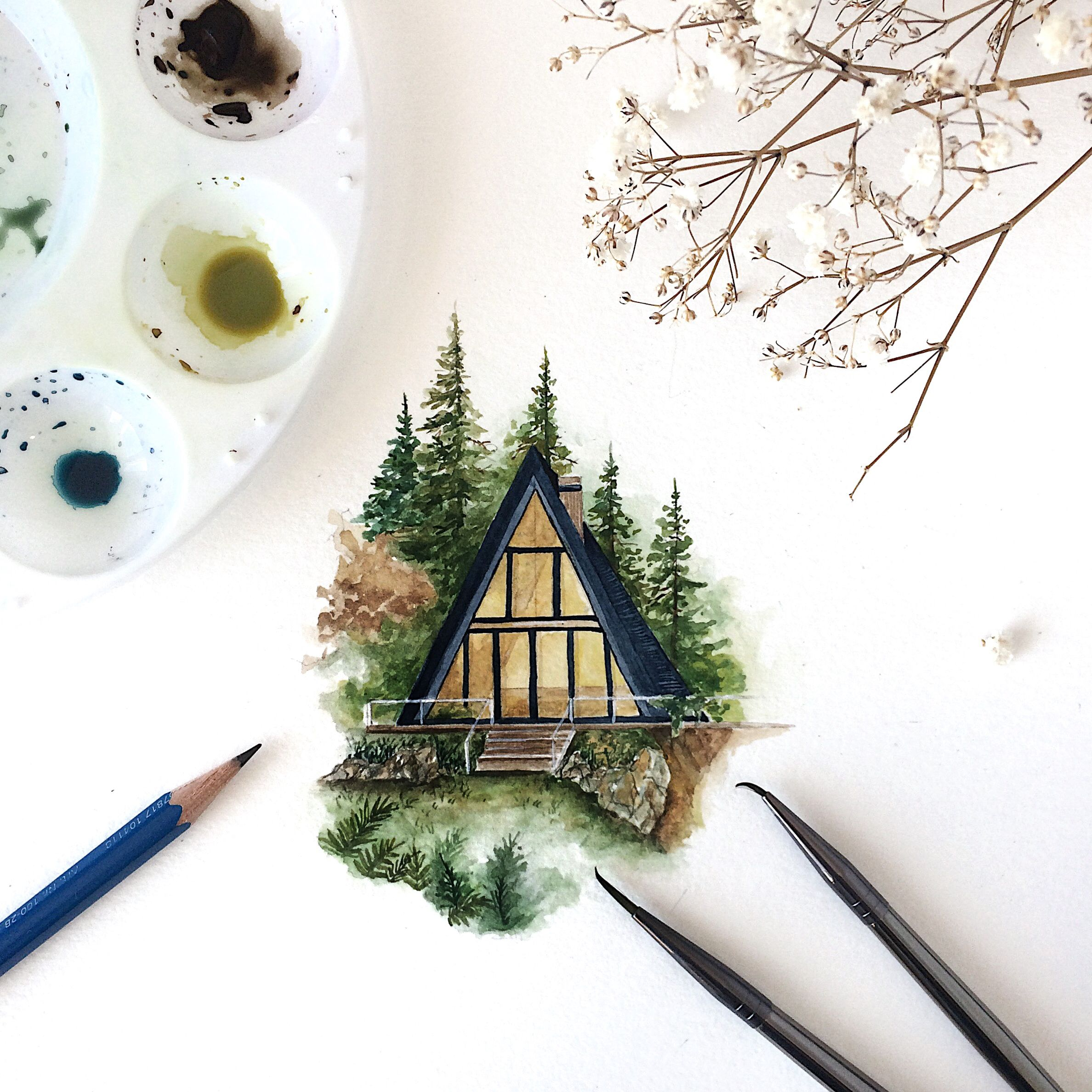 Watercolor Painting Of An A Frame Cabin I Really Love Painting