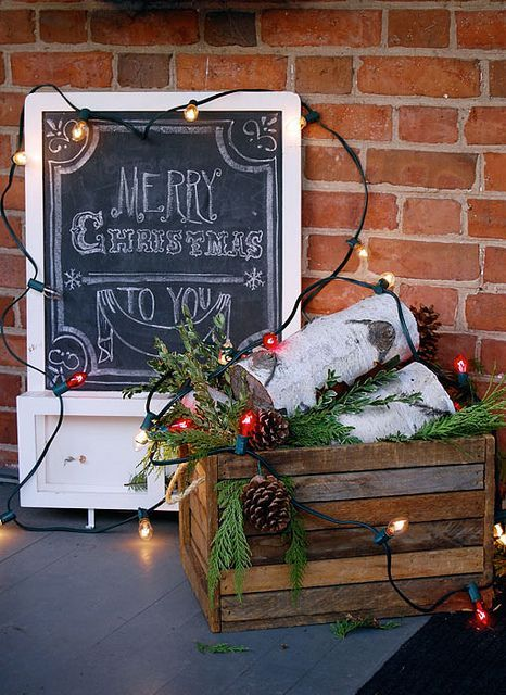 decorating with wooden crates wood crate christmas porch decor - Decorating Crates For Christmas