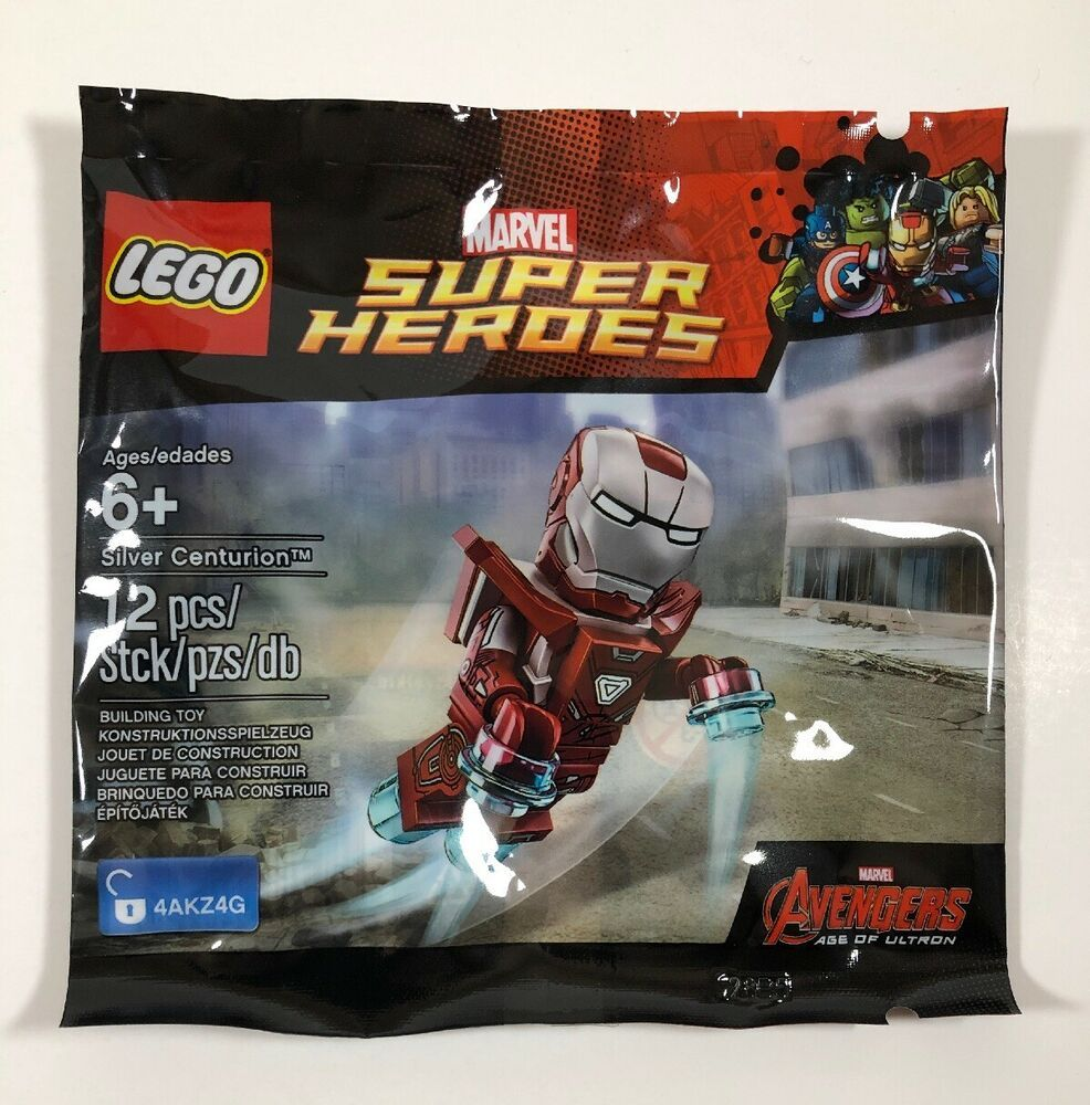 Lego Marvel Super Heroes Silver Centerion Iron Man Avengers Minifigure Polybag
