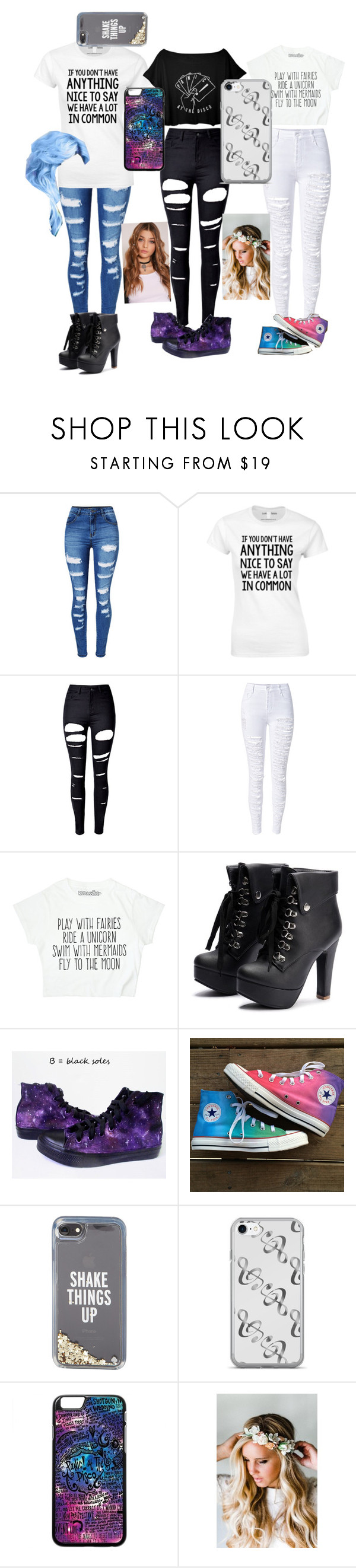 """""""Ripped jeans"""" by crimsonred13 ❤ liked on Polyvore featuring WithChic, Converse, Kate Spade and Emily Rose Flower Crowns"""