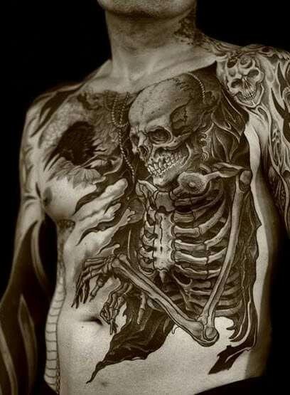 Full Chest Tattoos Skull: Awesome Skull Full Torso Chest Tattoo