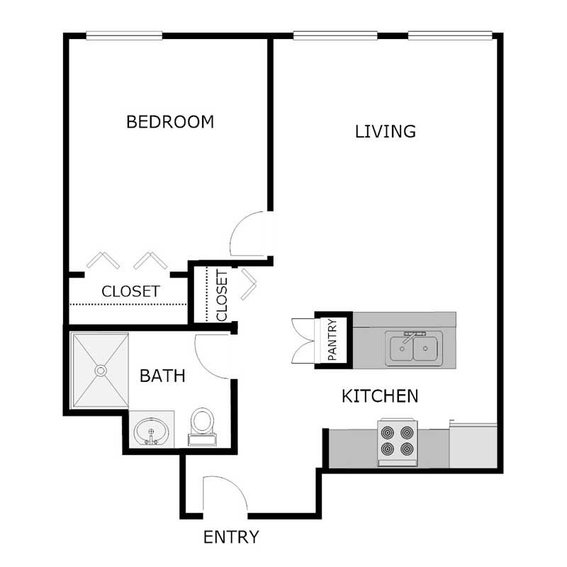 1 Bedroom 1 Bath Apartment 500 Sq Ft | Apartment layout ...