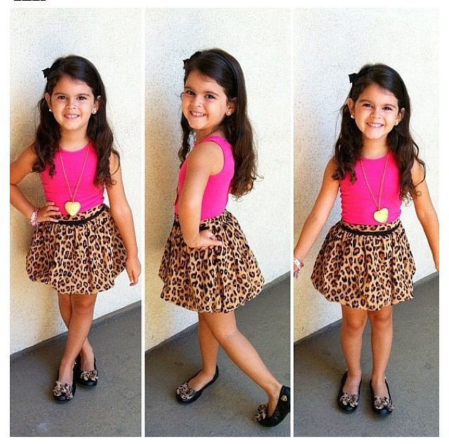 Little Fashionista Cheetah Pleated Skirt With A Hot Pink