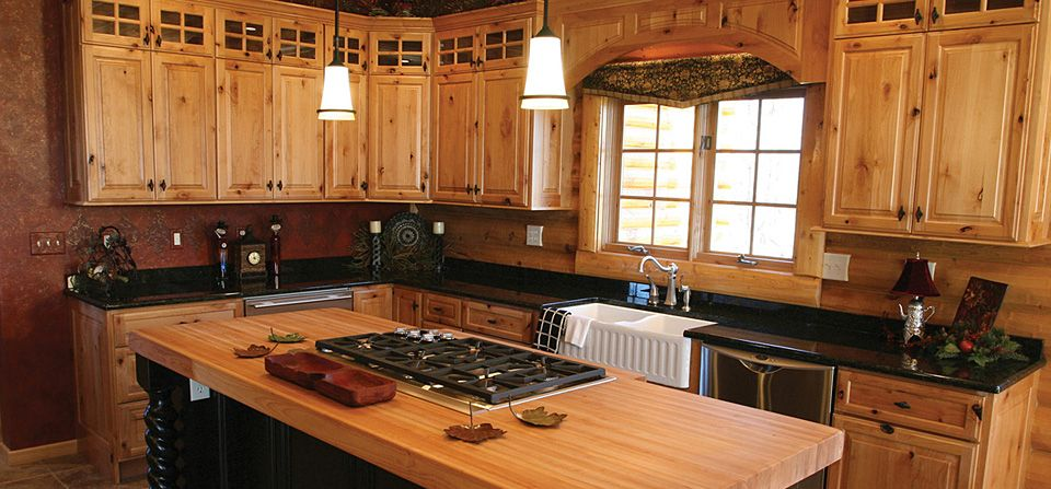 Rustic Alder Red Walls And Cabinets, Counter Tops, Wine Theme Kitchen U003d  Perfect