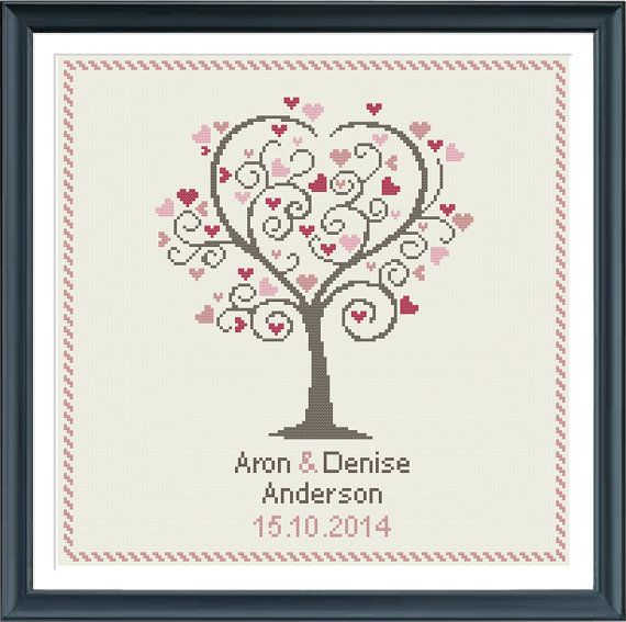 Wedding Cross Stitch Pattern Love Tree Customizable Modern Pattern Wedding Anniversary Pdf